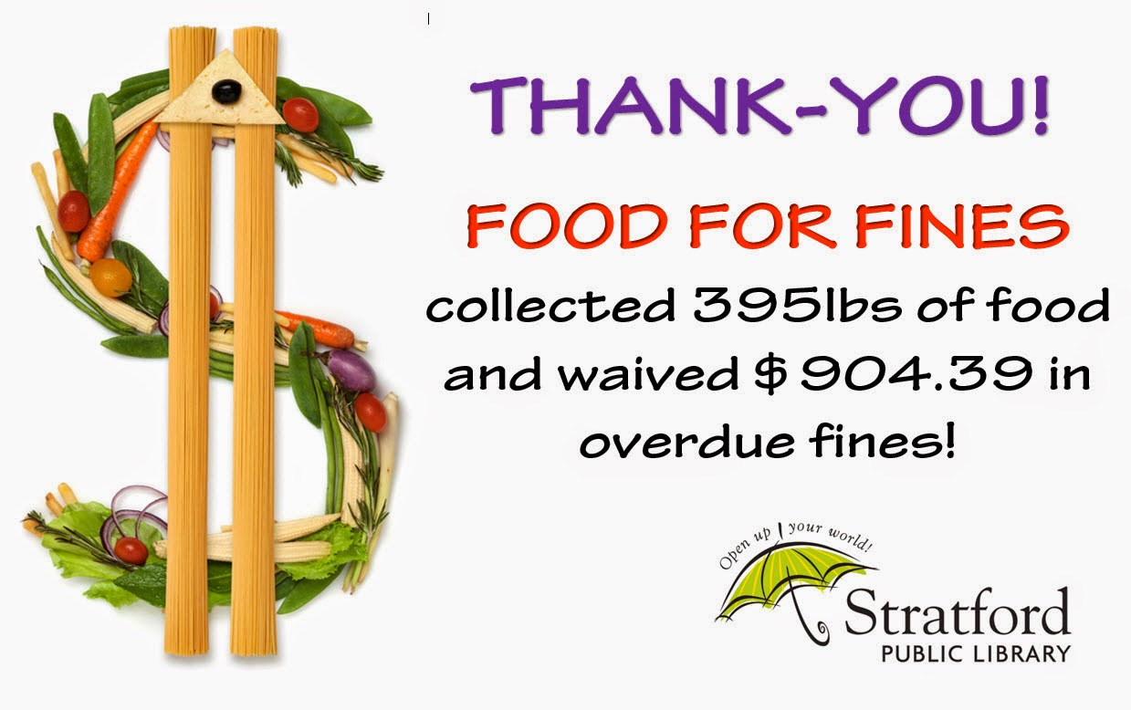 Thank you! FOOD FOR FINES collected 395lbs of food and waived $904.39 in overdue fines!collected 395lbs of food and waived $904.39 in overdue fines!