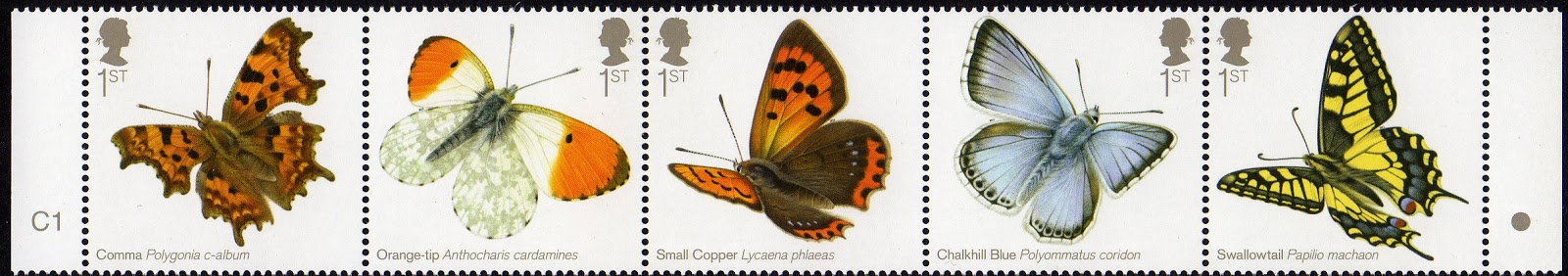 Strip of 5 butterfly stamps.