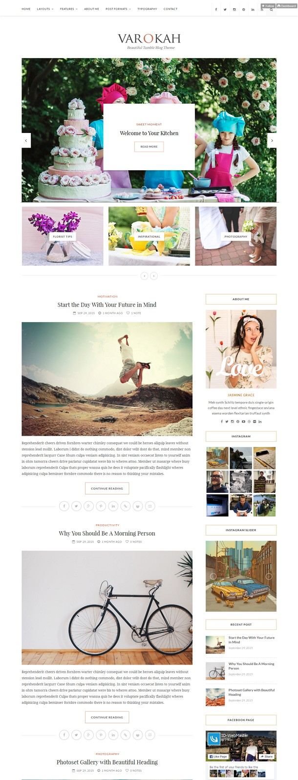 Varokah Clean Design Personal Tumblr Blog Theme
