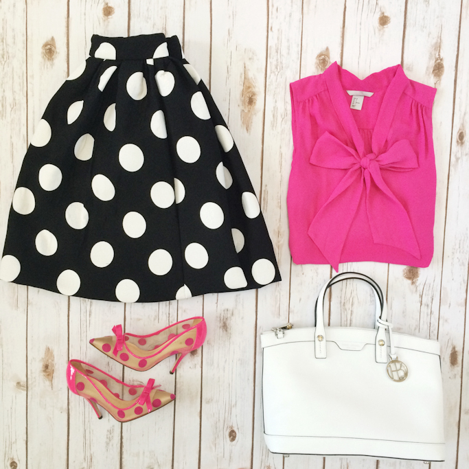 Black polka dot flare skirt pink bow blouse Kate Spade pumps Henri Bendel white purse