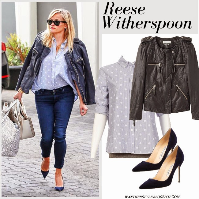 Reese Witherspoon in dark navy leather jacket Isabel Marant Kady, grey polka dot shirt The Great, skinny jeans, cream tote and suede pumps want her style spring fashion inspo