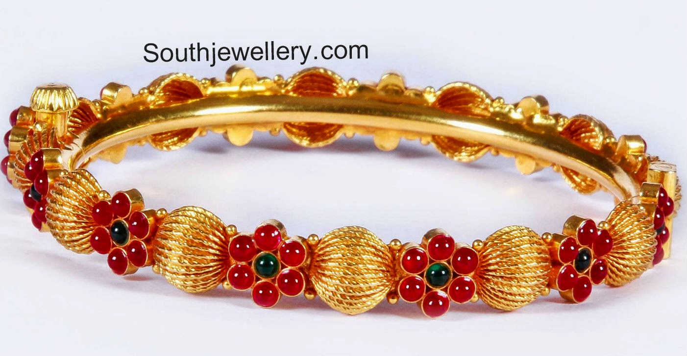 gold kada with rubies
