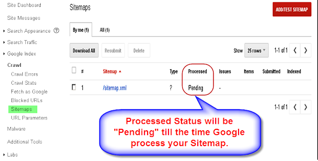 Sitemap Submission in Google Webmaster Tools