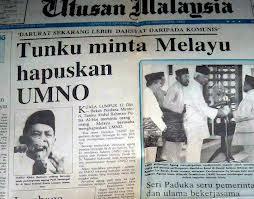 Tunku Abdul Rahman minta orang melayu hapuskan umno