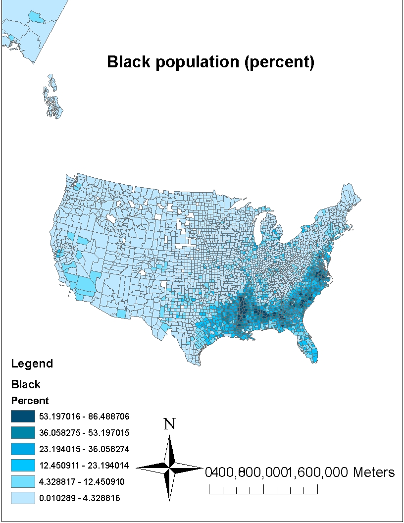 this map shows the distribution of black population across us this map clearly shows that almost 30 of united states has is heavily populated with african