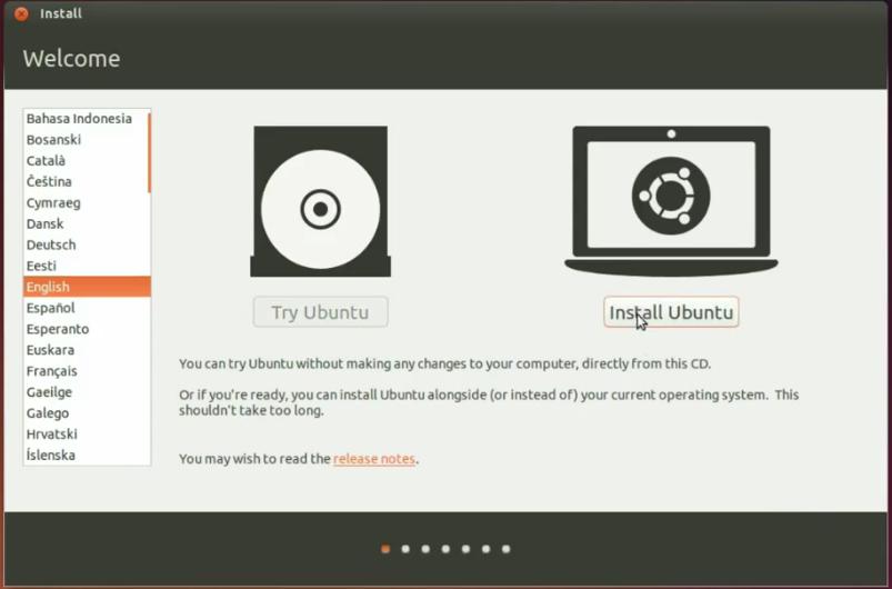 Install OS Ubuntu 14.10 : Pilih Bahasa