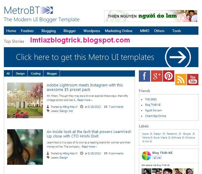 10. Metro BTK V2 – Impressive Blogger Template