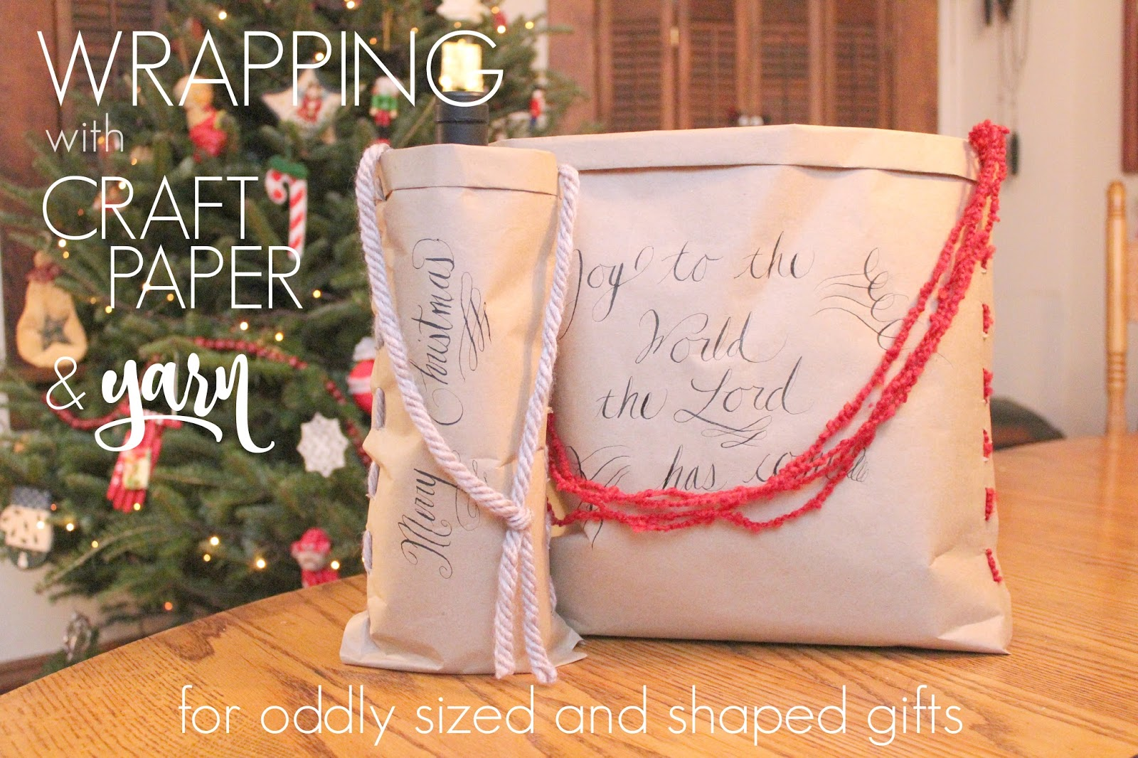 Eat sleep make wrapping with craft paper yarn for odd for How to make christmas crafts for gifts