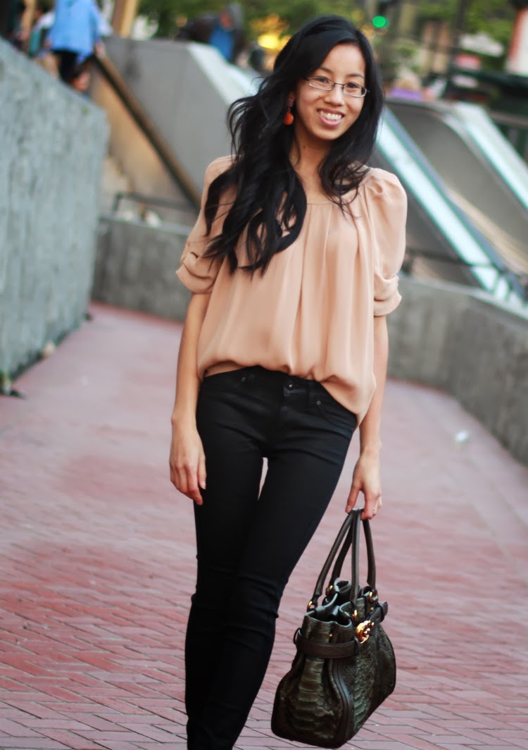 casual ballerina look silk bow back