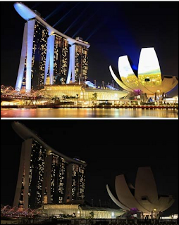 Earth Hour Singapore Pictures on Hotel Marina Bay Sand Dan Art Museum Singapore