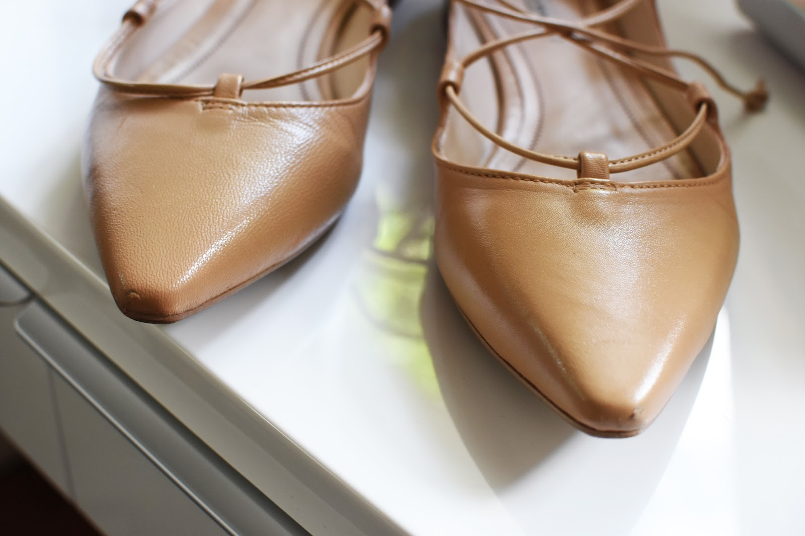 Zara nude tie up leather ballerina flats, Aquazzura Christy dupes.