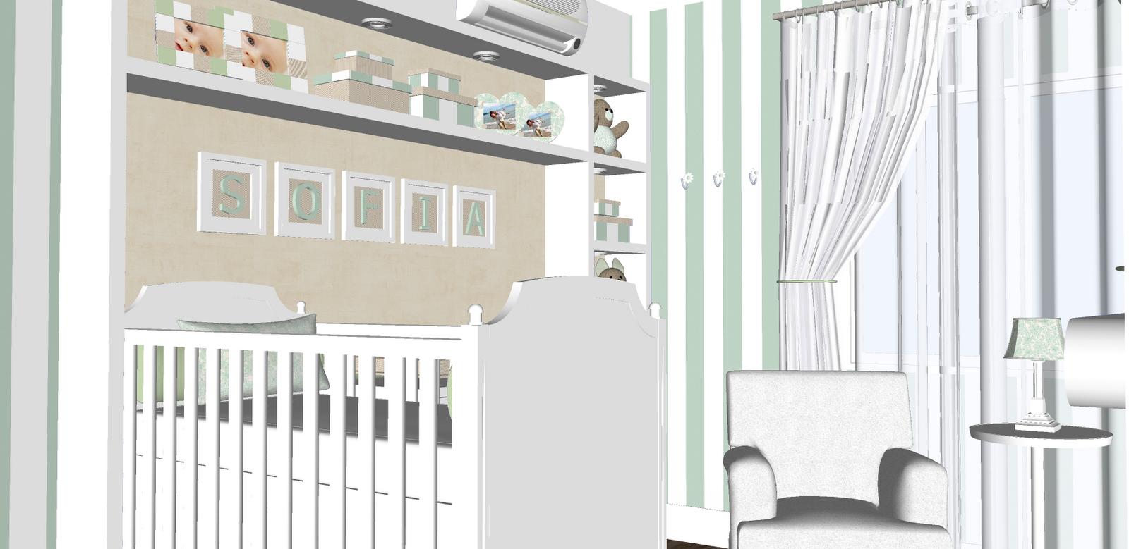 Zonta Arquitetura Bebê Verde Malva ~ Quarto Verde Malva