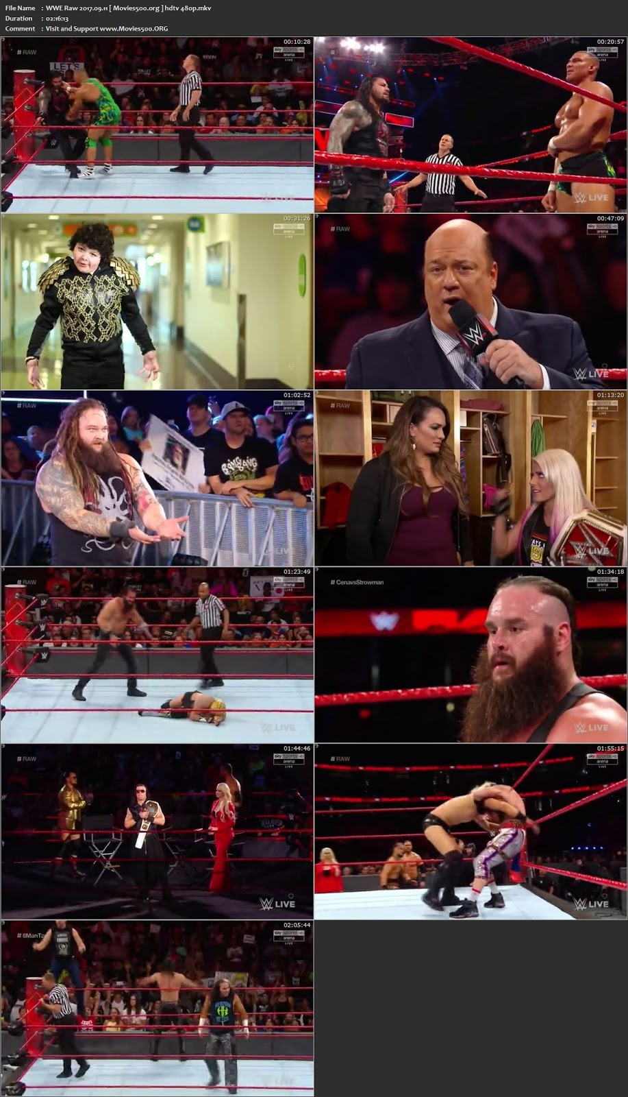 WWE Monday Night 11 SEPTEMBER 2017 Download HDTV 480p at xcharge.net