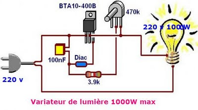 schema de variateur de lumi re a triac 1000w max. Black Bedroom Furniture Sets. Home Design Ideas