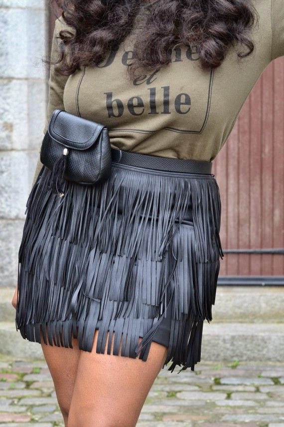 Khaki, leather, fringe skirt, fringe trend