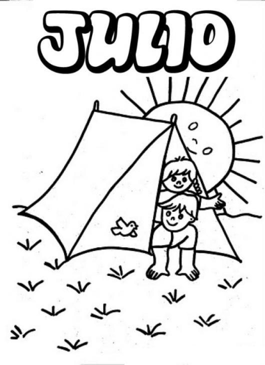 Dibujo de dos niños disfrutando el sol del mes de Julio para ...