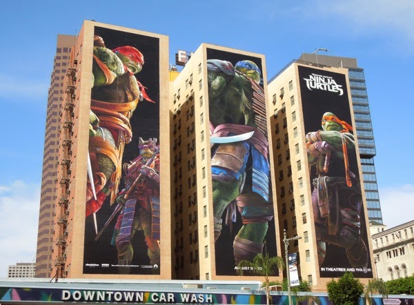 Giant Teenage Mutant Ninja Turtles movie billboards Downtown LA
