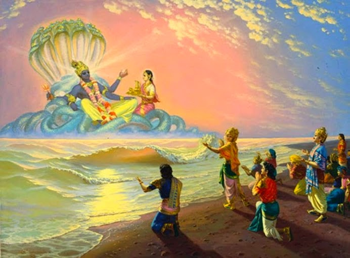 Lord Vishnu with Lakshmi and His devotees