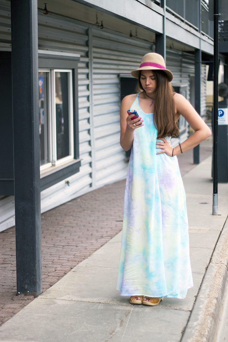 Tobi rainbow colored maxi dress