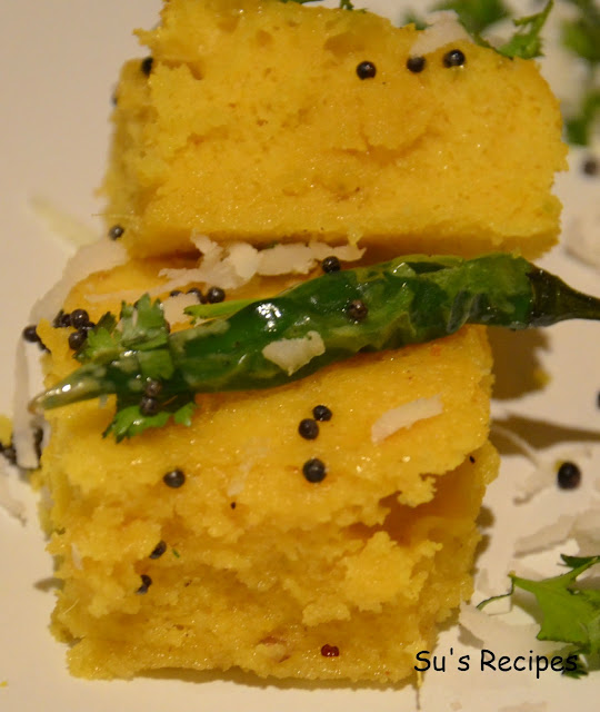 khaman, dhokla, soft and spongy steamed dumpling