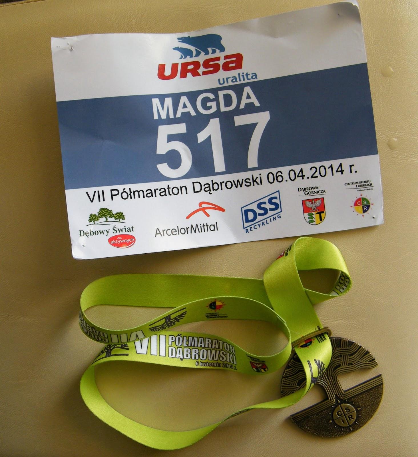 Półmaraton Dąbrowski 6 kwiecień 2014- czyli moje drugie starcie z 21 km