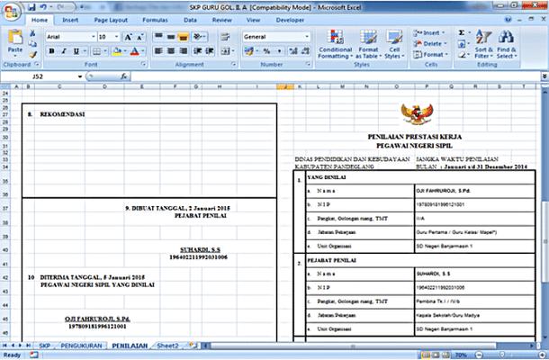 Aplikasi SKP 2016 Guru dan Kepala Sekolah Format Microsoft Excel