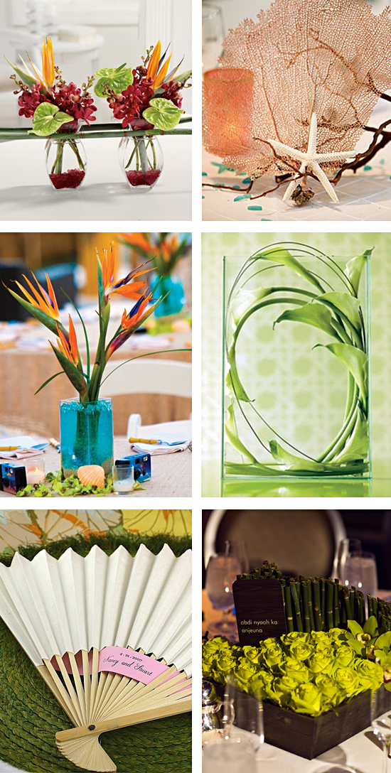 Reception Tropical Centerpiece Ideas