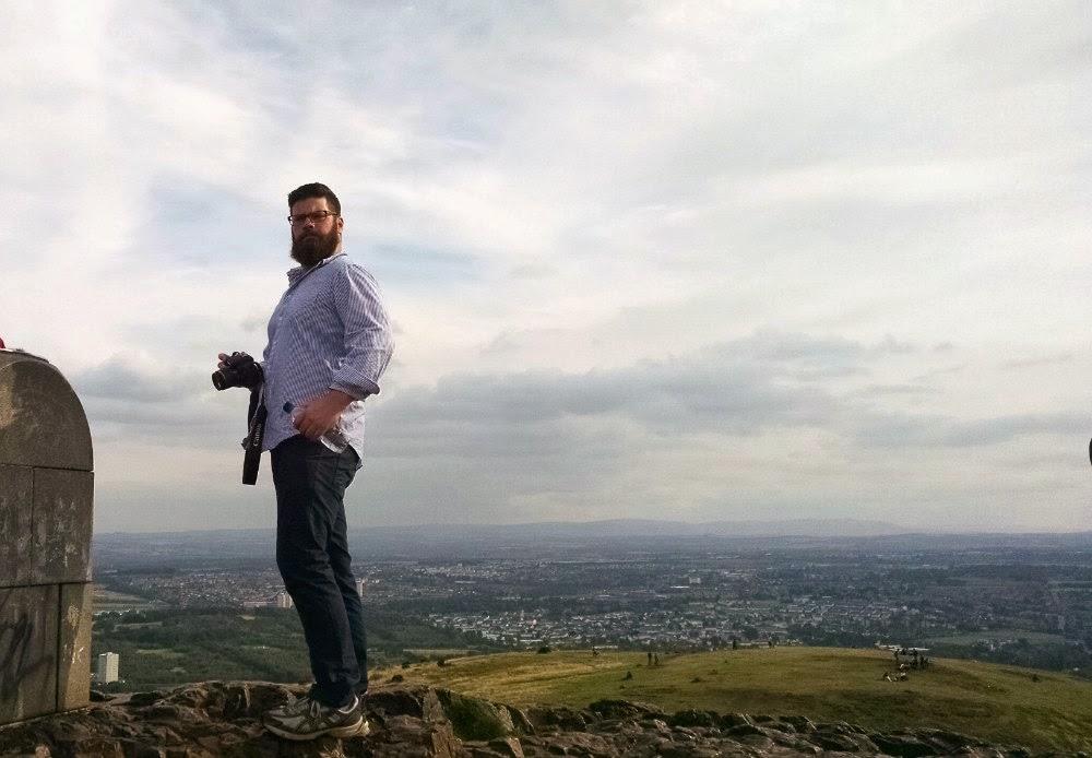at the top of arthur's seat, edinburgh, scotland