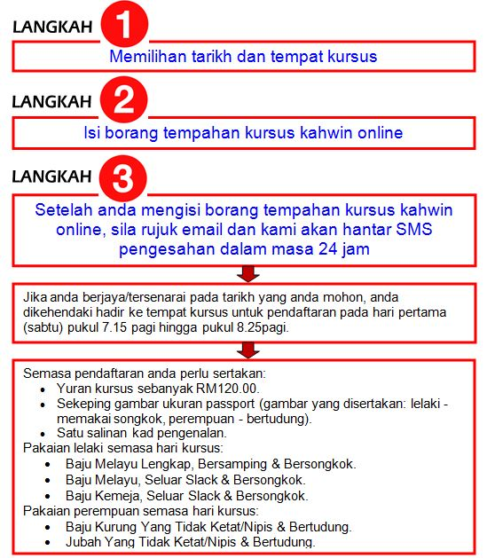 "Panduan Tempahan Kursus Kahwin Online Semudah ""3 LANGKAH"""