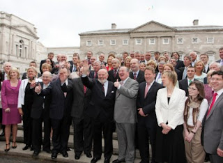 Members of the Seanad pictured outside Leinster House
