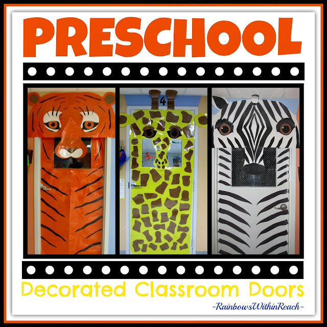Decorated Classroom Doors using Jungle Animals in Preschool via RainbowsWithinReach