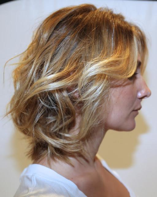 Blonde wavy bob hairstyle