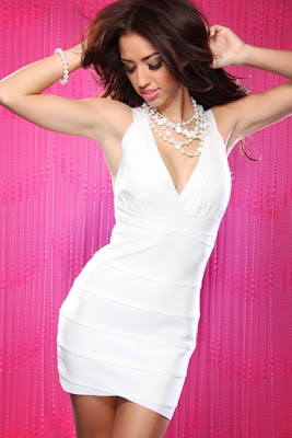 WHITE SEXY LUREX V NECK BANDAGE MINI DRESS