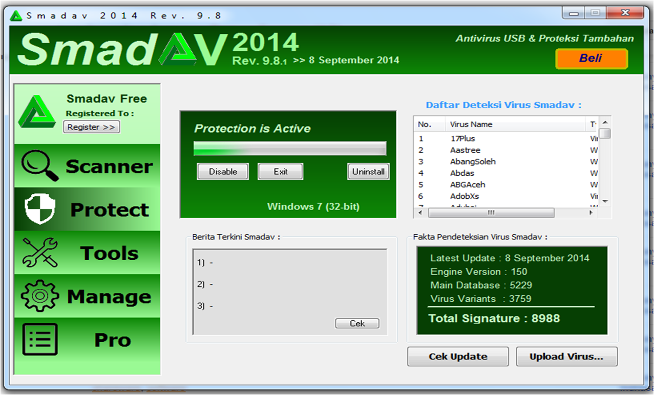 Free Download Antivirus Smadav Terbaru 2014 Versi 9.8.1. update 8 September 2014