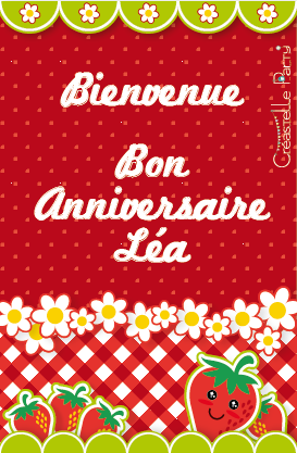 CreastelleParty - Fraise Kawaii - affichette de bienvenue / Kawaii Strawberry - welcome sign