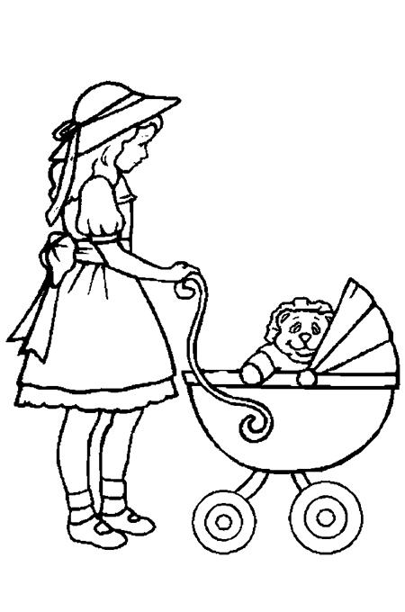 صورة تلوين فتاة صغيرة تدفع عربة أطفال بها ألعاب