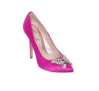 Aruna Seth Hot pink butterfly stiletto pumps