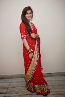 Actress Priyal Gor Pictures in Red Saree at Saheba Sumanyam Premiere Show  26.jpg