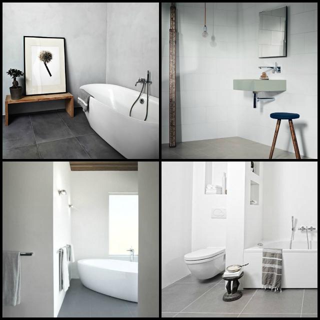Hus i skogen: store grå flis på badet   inspirasjon