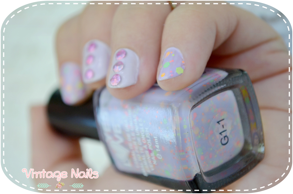 nail art, manicura, manicure, vintage nails, bourjois, yes love, born pretty store, tachuelas, neon glitter, peace and mauve