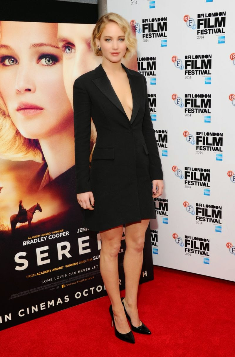 Jennifer Lawrence flaunts a plunging Dior dress at the 'Serena' London Film Festival premiere
