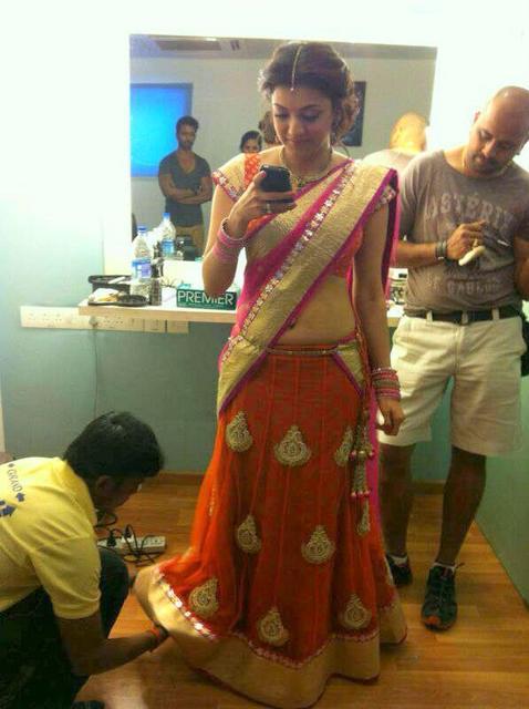 Kajal in Cute Half Saree