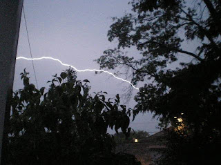 Anatomy of a lightning strike frame 14: Another flash as the bottom lightening bolt increases in intensity...