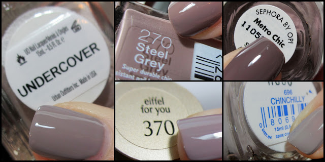 Sephora by OPI Rimmel Steel Grey Urban Outfitters Undercover Loreal Eiffel for You Essie Chinchilly Dupe