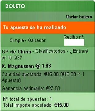 Apuestas Deportivas Rosberg Formula 1- Gran Premio de China Magnussen