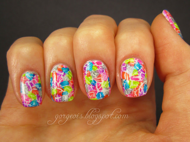 August MVP: OPI My Boyfriend Scales Walls -- Summer shatter mosaic
