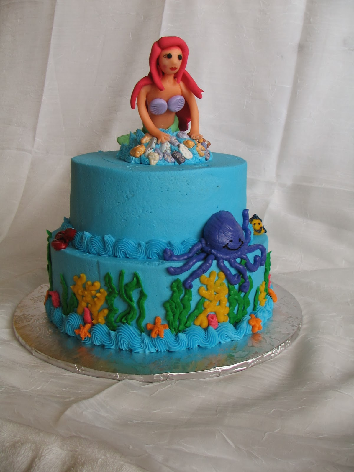 Piped Dreams 2tier Ocean Cake with 3D Mermaid Topper