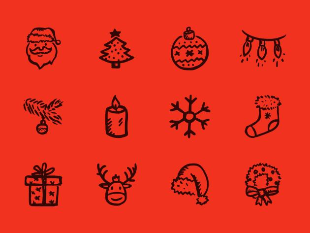 可愛い手描き風クリスマスアイコンが合計12種類