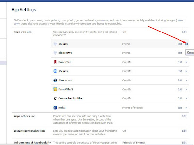 Facebook Apps Page - How to Remove app from facebook profile