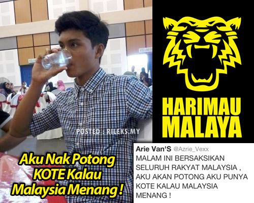 (gambar) budak nak potong batang kalau malaysia menang lawan laos